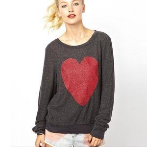 Wildfox Sweatshirt Red Sparkle Heart Dark Grey